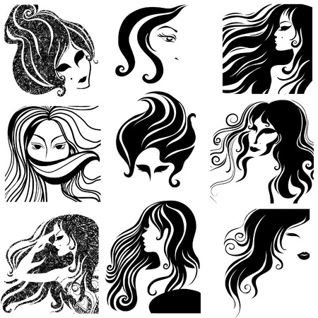 set of closeup silhouette portrait of beautiful woman with long hair Vector