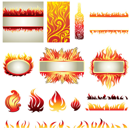 Big set of fire design elemets (frame, icons, backgrounds) Vector
