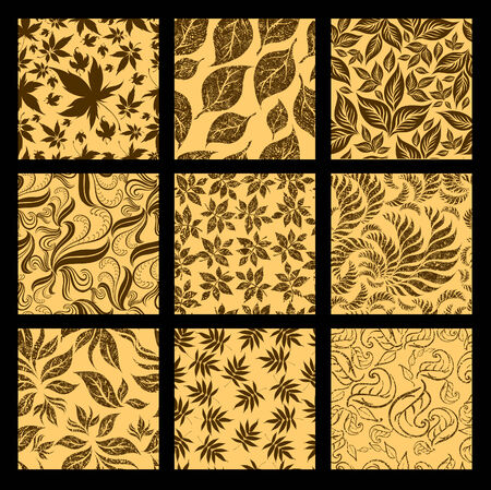 Set of nine Seamless autumn patterns from leaves. Thanksgiving  Vector