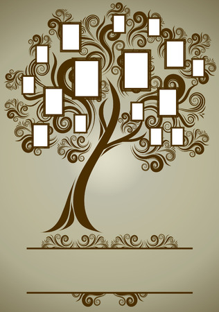 biography: family tree design with frames and autumn leafs. Place for text