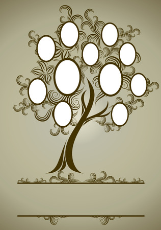 arbol genealógico: diseño del árbol de la familia con marcos y otoño veraniegos. Colocar texto