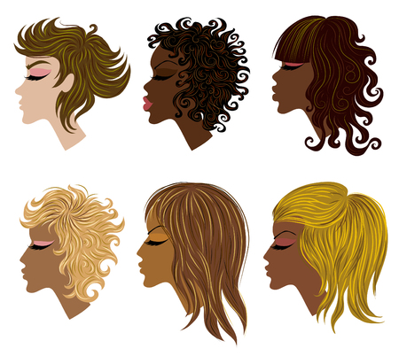 set of trendy hair styling for woman (from my big Stock Vector - 7916725