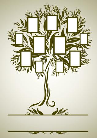 家系図設計枠と秋を葉します。テキストのための場所