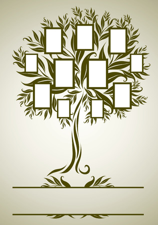 family tree design with frames and autumn leafs. Place for text Vector