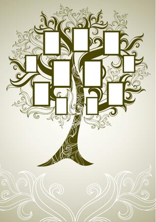 arbol geneal�gico: dise�o del �rbol de la familia con marcos y oto�o veraniegos. Colocar texto