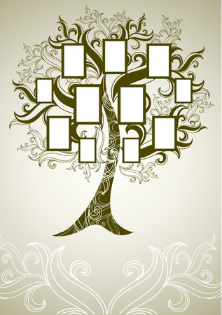 family tree design with frames and autumn leafs. Place for text