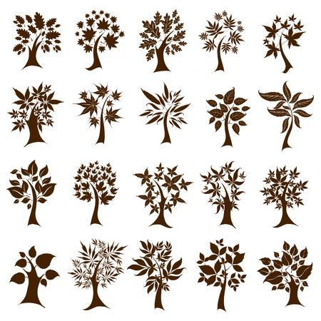 セットから 20 かわいい装飾的な木を葉します。感謝祭