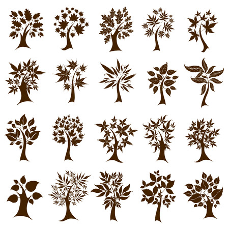 set of twenty cute decorative trees from leafs. Thanksgiving
