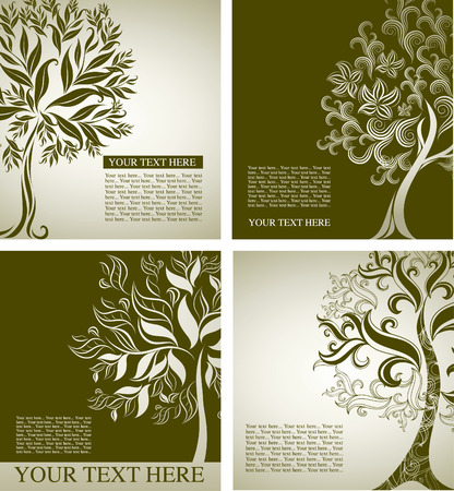 Four samples of design with decorative tree from colorful autumn leafs and place for text. Thanksgiving Stock Vector - 7916733