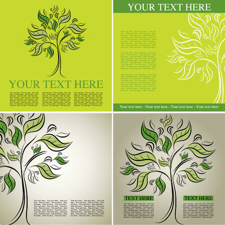 Four samples of design with decorative tree from colorful autumn leafs and place for text. Thanksgiving Vector