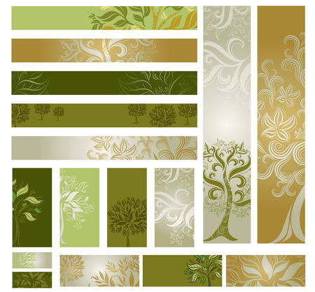 samples of web-design (banners) with decorative tree from colorful autumn leafs and place for text. Thanksgiving Vector