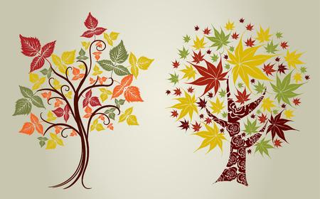 2 つのベクトルのデザイン グランジ色の木の葉っぱ。感謝祭  イラスト・ベクター素材