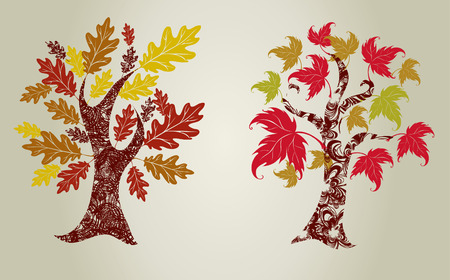 Two Vector designs grunge color trees from leafs. Thanksgiving Stock Vector - 8090471