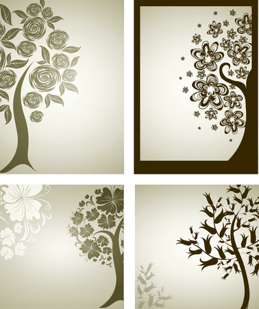 Vector set of backgrounds with decorative tree from flowers. Thanksgiving