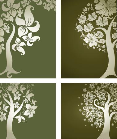 花から装飾的な木の背景ベクトルを設定します。感謝祭