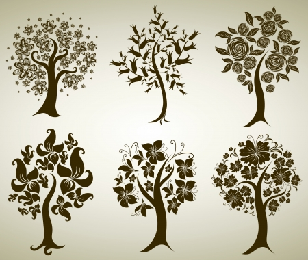 Vector set of designs with decorative tree from flowers. Thanksgiving