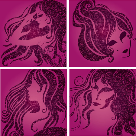 Vector set of closeup silhouette pink portrait of beautiful woman (From my big  Illustration