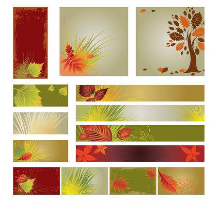 ベクトルのサンプル web デザイン (バナー) をカラフルな秋から装飾的な木の葉し、テキストの配置。感謝祭