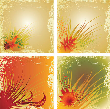 Four samples of design with colorful autumn leafs. Thanksgiving  Stock Vector - 8200482