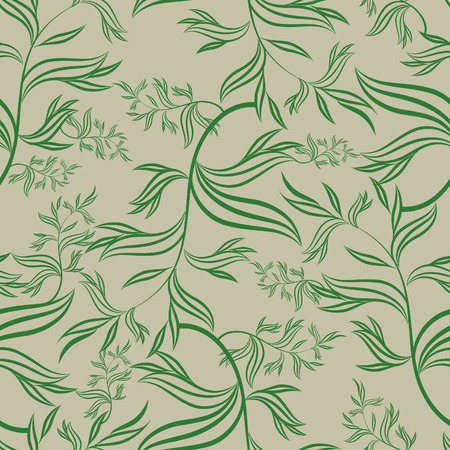 Seamless green floral pattern with leafs (From my big  Vector
