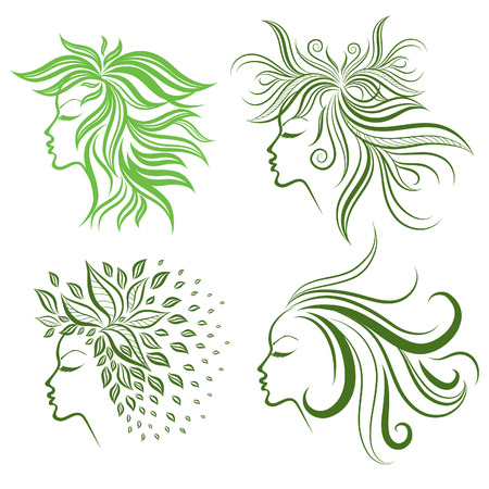 set of girls hair from leafs (from my big  Stock Vector - 8885354