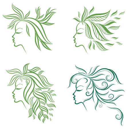 set of girls hair from leafs (from my big Stock Vector - 8885353