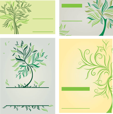 Vector set of design templates with trees (from my tree collection) Stock Vector - 9114071