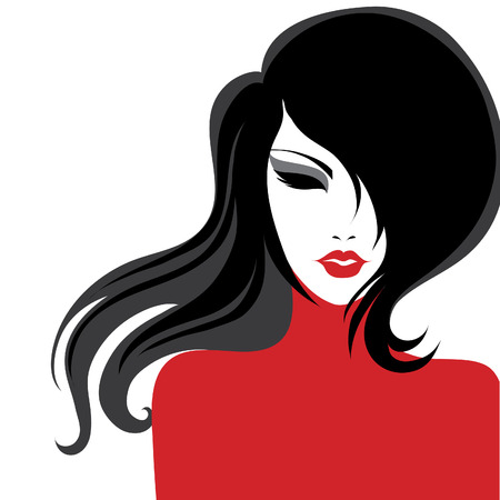 Vector closeup portrait of a girl with beautiful hair in red dress (from my big
