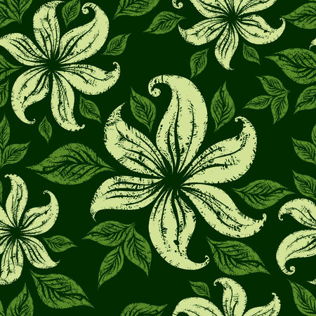 Vector Seamless floral grunge pattern with lillies Vector