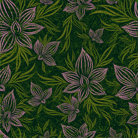 Vector grunge seamless floral pattern with lilly flower (From my big  Vector