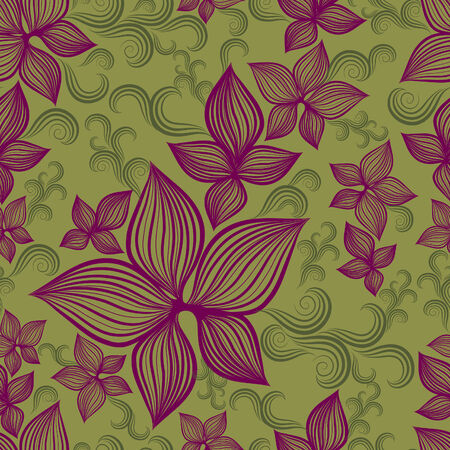 white lilly: Vector Seamless floral pattern with lilly flower  (From my big
