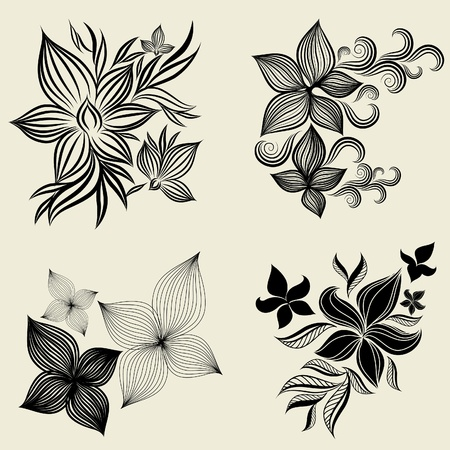 Vector set of flower design elements (from my big  Illustration