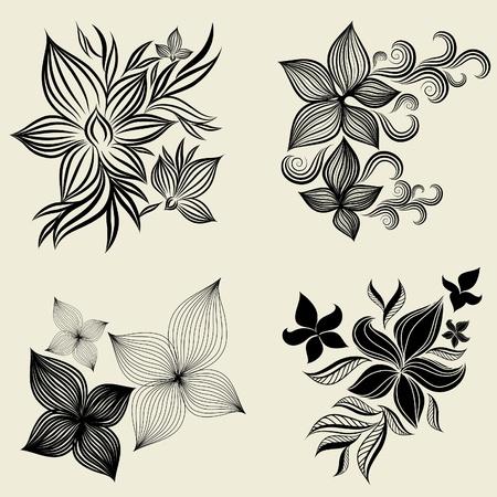spire: Vector set of flower design elements (from my big  Illustration