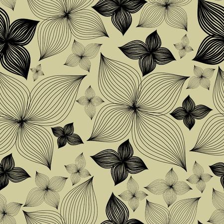 リリーの花 (私の大とシームレスな花パターンをベクトル  イラスト・ベクター素材