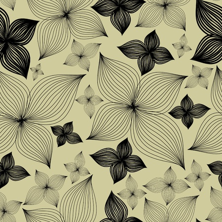Vector Seamless floral pattern with lilly flower  (From my big  Vector