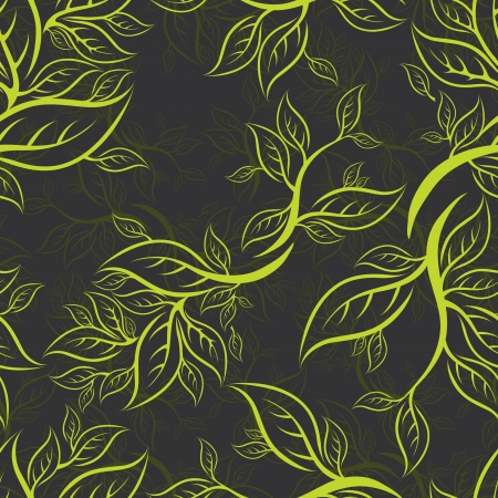 leaf curl: Seamless green floral pattern with leafs (From my big