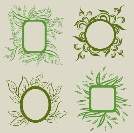 Vector set of leafs frames (from my big Stock Vector - 9168168