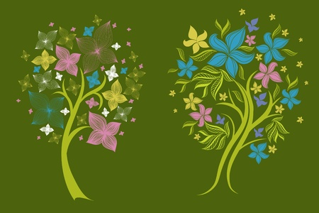 Two vector trees made from decorative flower (from my big  Vector