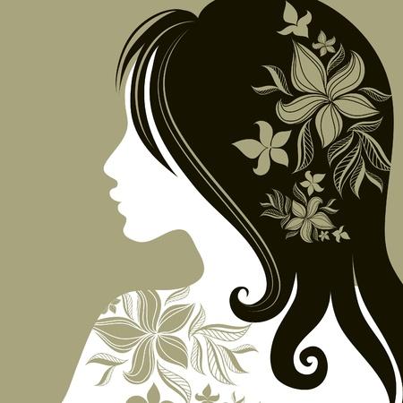 (から私の大きな長い髪に花を持つ女性のベクトルのクローズ アップの肖像