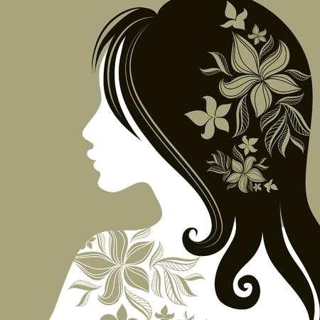 bánat: Vector closeup portrait of woman with flower in long hair (From my big  Illusztráció