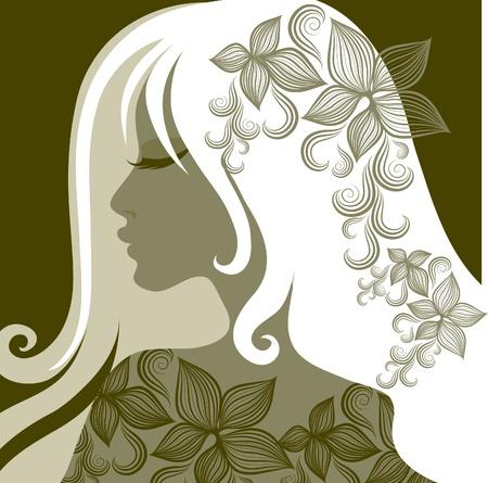 hairstyling: Retrato de detalle de vector de mujer con flores en el pelo largo (de mi gran