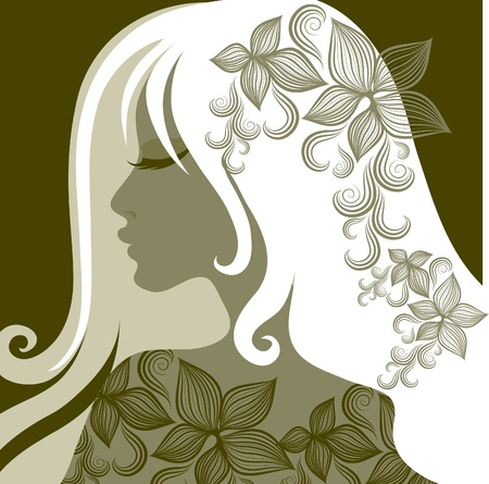 Vector closeup portrait of woman with flower in long hair (From my big  Vector