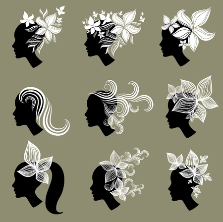 set of vintage girls hair Stock Vector - 9230800