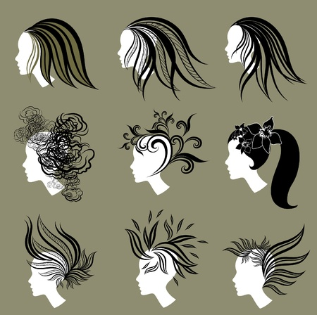 set of vintage girls hair from leaf Stock Vector - 9230799