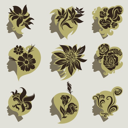 set of vintage girls hair with flowers   Vector
