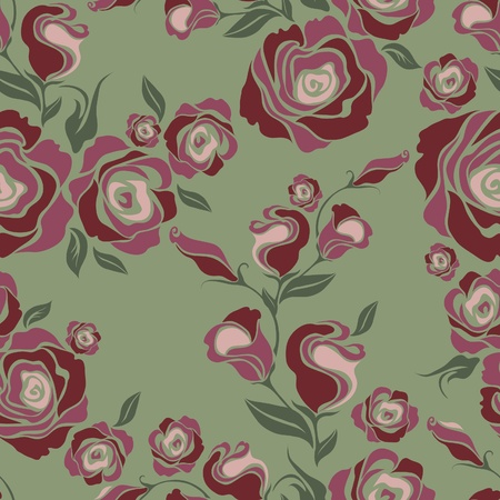 Seamless vintage flower rose pattern Stock Vector - 9230804