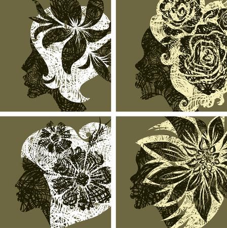 (から私の大きな花とグランジ ヴィンテージ女の子の髪のベクトルを設定