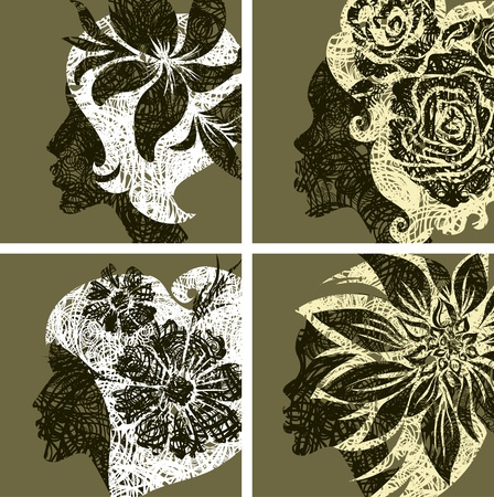 Vector set of grunge vintage girls hair with flowers (from my big