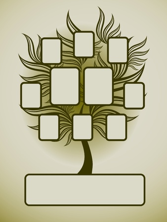Vector family tree design with frames and autumn leafs. Place for text.  Vector