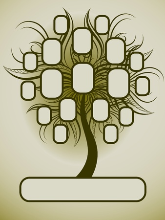 family history: Vector family tree design with frames and autumn leafs. Place for text.  Illustration